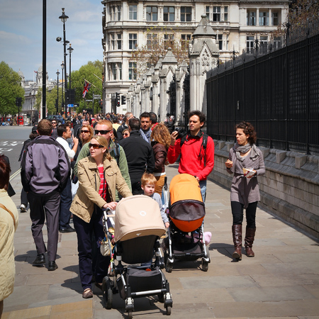 westminster city: LONDON, UK - MAY 13, 2012: People visit City of Westminster in London. With more than 14 million international arrivals in 2009, London is the most visited city in the world (Euromonitor).