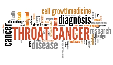 throat: Throat cancer word collage concept. Serious disease treatment.