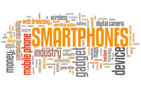 technology collage: Smartphones - phone technology concepts word cloud illustration. Word collage.