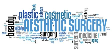 aesthetic: Aesthetic surgery - beauty improvement. Word cloud concept.