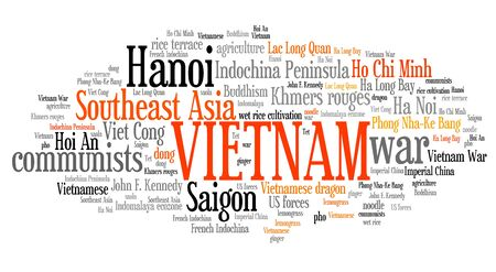 cloud tag: Vietnam tag cloud illustration. Asia country word collage. Stock Photo