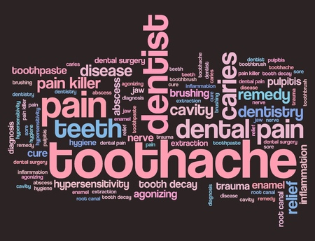 dental health: Toothache - dental health concepts word cloud illustration. Word collage. Stock Photo