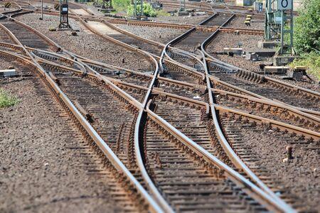 railway points: Railroad turnout point in Dusseldorf, Germany. Railway transportation infrastructure.