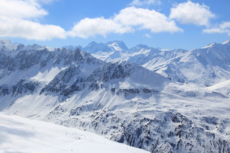 SKI: Ski area in French Alps. Galibier-Thabor skiing station in Valmeinier and Valloire, France.