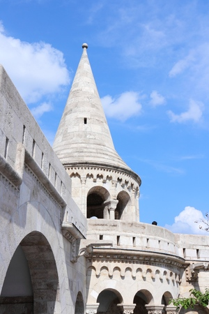 fortification: Budapest, Hungary - Fishermans Bastion. Old fortification architecture.