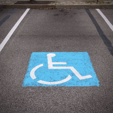 markings: Handicapped parking spot - transportation infrastructure road markings.