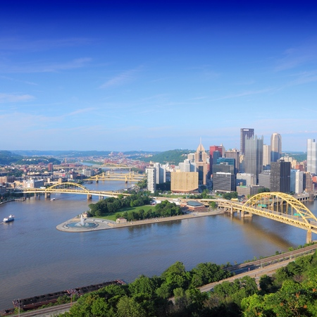 allegheny: Pittsburgh, Pennsylvania. Skyline with Allegheny and Monongahela River. Stock Photo