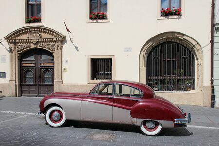 ix: BUDAPEST, HUNGARY - JUNE 20, 2014: Classic Jaguar Mark IX parked in Budapest. It was produced in 1959-1961 as a large luxury car. Editorial