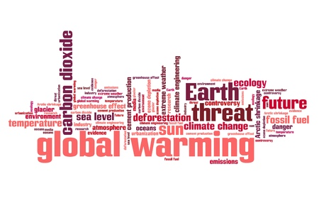 weather terms: Global warming environmental issues and concepts word cloud illustration. Word collage concept. Stock Photo