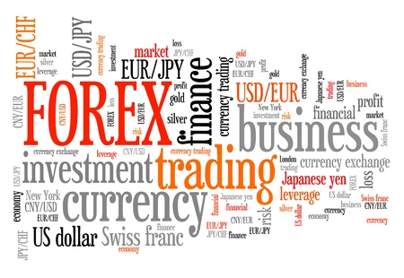 to keyword: Forex - foreign exchange currency trading word cloud illustration. Tag cloud keyword concept. Stock Photo