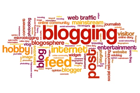 Blogging issues and concepts word cloud illustration. Word collage concept. Stock Photo
