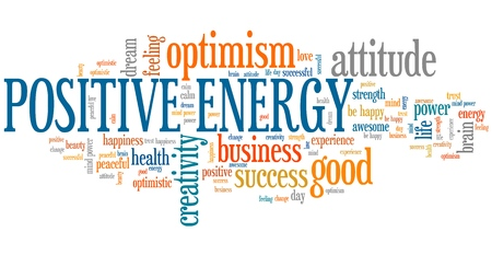 positive energy: Positive energy word cloud. Good thinking for business success. Stock Photo
