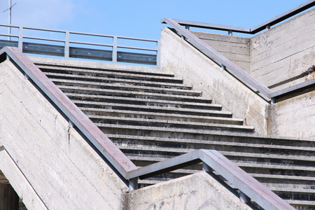 urban decline: Urban concrete infrastructure - pedestrian overpass stairs in Bratislava, Slovakia.