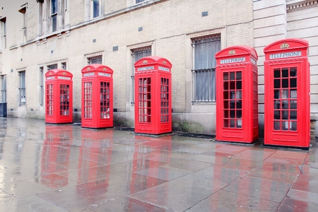 covent: London, UK - red phone booths of Broad Court, Covent Garden. Stock Photo