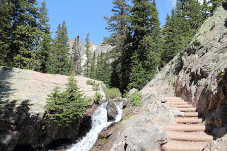 colorado rocky mountains: Hiking trail in Rocky Mountains, Colorado, United States. Stock Photo