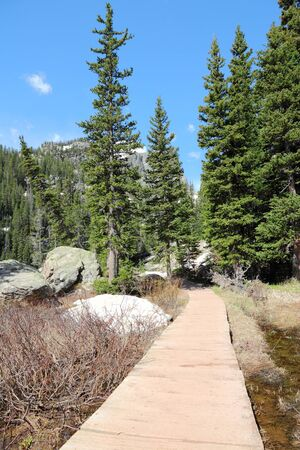 boardwalk trail: Rocky Mountains National Park in Colorado, USA - hiking trail boardwalk.
