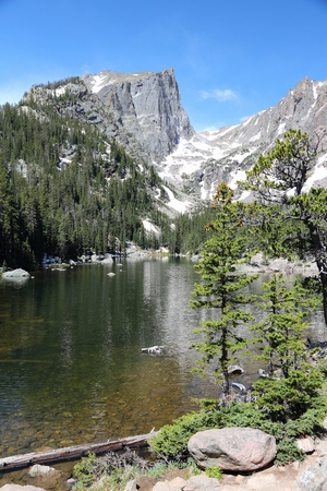 dream lake: Rocky Mountain National Park in Colorado, USA. Dream Lake view with Flattop Mountain. Stock Photo