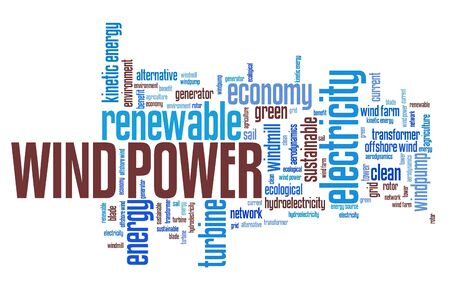ecological problem: Wind power - alternative energy issues and concepts word cloud illustration. Word collage concept.