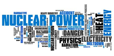 fission: Nuclear power - energy generation issues and concepts word cloud illustration. Word collage concept. Stock Photo