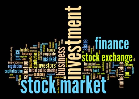 futures: Stock market investment keywords cloud illustration. Word collage concept. Stock Photo