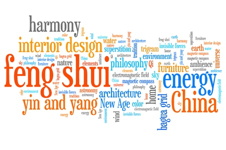 shui: Feng shui concepts word cloud illustration. Word collage concept. Stock Photo