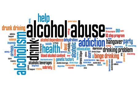 アルコール乱用とアルコール依存症の問題と概念単語雲イラスト。単語のコラージュの概念。
