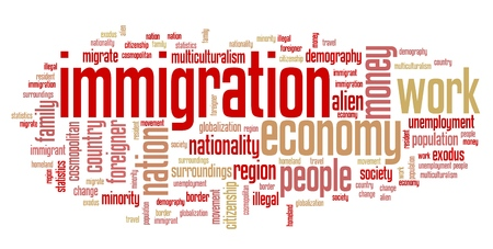 Immigration issues and concepts word cloud illustration. Word collage concept. Stock Photo