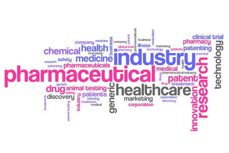 Pharmaceutical industry and medicine word cloud illustration. Word collage concept.