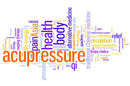 alternative medicine: Acupressure alternative medicine issues and concepts word cloud illustration. Word collage concept.