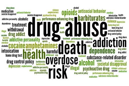 drogadiccion: Cuestiones problema de abuso de drogas y conceptos ilustración nube de palabras. Collage concepto Palabra. Foto de archivo