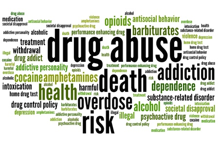 Drug abuse problem issues and concepts word cloud illustration. Word collage concept. Archivio Fotografico