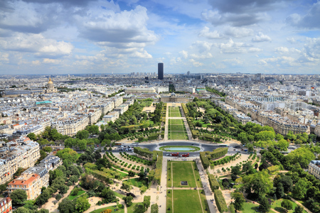 champ: Paris aerial view from Eiffel Tower - French capital city architecture with Champ de Mars gardens.
