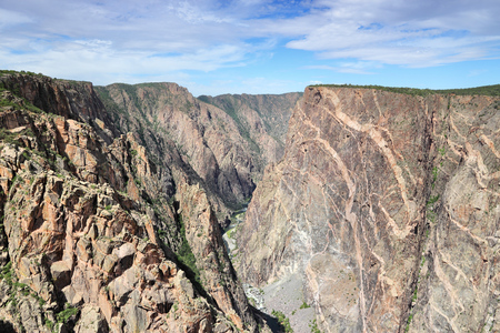 schist: Black Canyon of the Gunnison National Park in Colorado, USA. Very deep gorge.