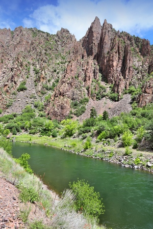 schist: Gunnison River in Black Canyon of the Gunnison National Park in Colorado, USA.