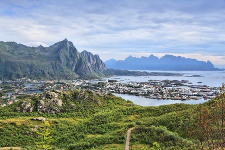 boreal: Lofoten islands in Arctic Norway. Svolvaer town view on Austvagoya island. Aerial view of Boreal zone from Tjeldbergtinden hiking trail.