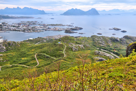 boreal: Lofoten archipelago in Arctic Norway. Svolvaer town view on Austvagoya island. Aerial view of Boreal zone from Tjeldbergtinden hiking trail.