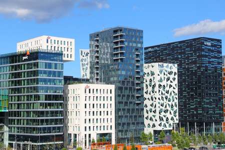 urban redevelopment: OSLO, NORWAY - AUGUST 2, 2015: Architecture of Bjorvika district in Oslo. It is a part Fjord City, major urban redevelopment project for Oslo for 2000s and 2010s.