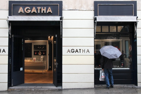 famous industries: MADRID, SPAIN - OCTOBER 21, 2012: Agatha jewellery store in Madrid. Agatha is a French jewelry brand founded in 1974 in Paris. Editorial