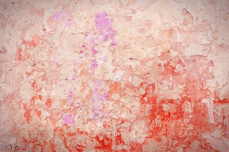 urban decay: Grunge red concrete background - urban decay texture with peeling paint.