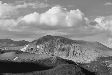 rocky mountain national park: Rocky Mountain National Park in Colorado, United States. Mountain landscape. Black and white retro photo. Stock Photo