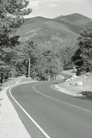 rocky mountain national park: Road in Rocky Mountain National Park in Colorado, USA. Black and white retro photo.