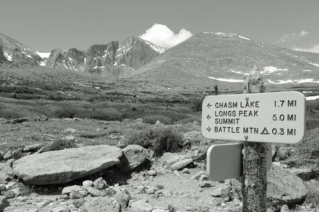longs peak: Rocky Mountain National Park in Colorado, USA. Hiking trail to Longs Peak. Black and white retro photo. Stock Photo