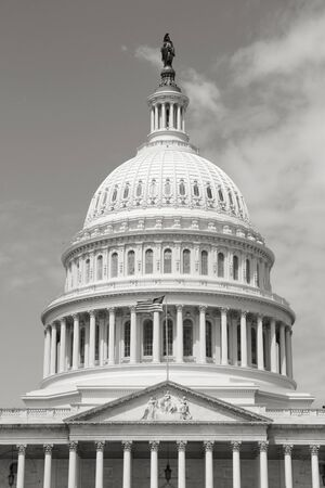 district of columbia: Washington DC, capital city of the United States. National Capitol building with US flag. Black and white retro photo.