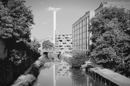 district of columbia: Washington DC, capital city of the USA. Post-industrial Canal Park in Georgetown district. Black and white retro photo.