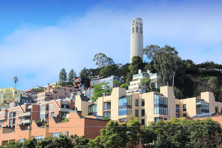 coit tower: San Francisco cityscape - Telegraph Hill and Coit Tower.