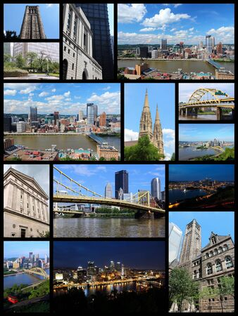 skylines: Pittsburgh, USA landmarks - travel photo collage with skylines, bridges, cathedral and university. Stock Photo