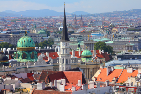 aerial view: Vienna Old Town in Austria. Aerial view cityscape.