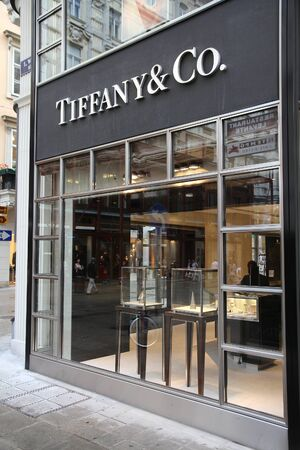 recognized: VIENNA, AUSTRIA - SEPTEMBER 5, 2011: Tiffany & Co store in Vienna. The jewelry company founded in 1837 is among most recognized luxury brands in the world.