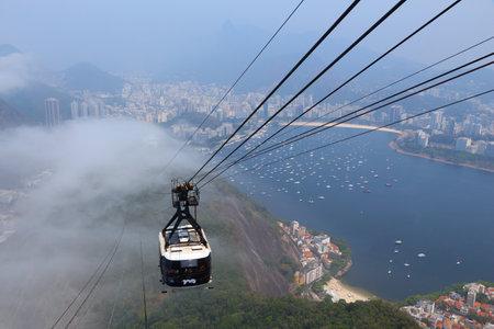 rio de janeiro: RIO DE JANEIRO, BRAZIL - OCTOBER 18, 2014: People ride Sugarloaf Mountain cable car in Rio de Janeiro. The cable car works since 1912.