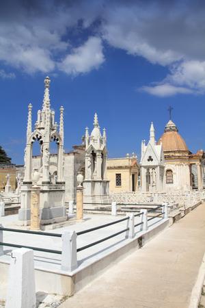 necropolis: Cuba - the main cemetery of Havana. Necropolis Cristobal Colon. Stock Photo
